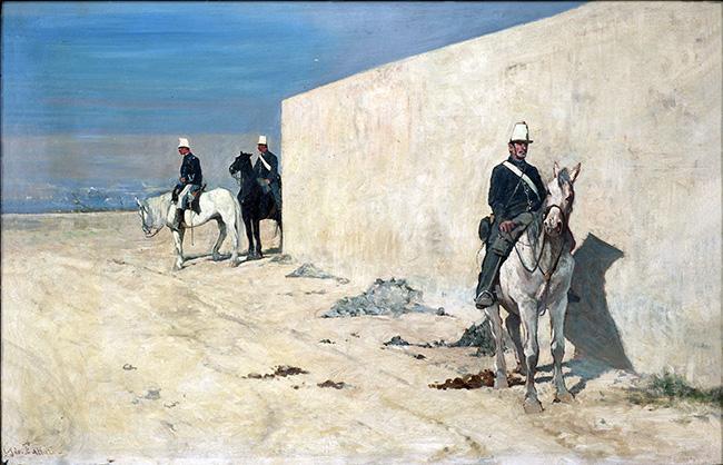 Giovanni Fattori, Piantoni. Il muro bianco (In vedetta), 1874 ca., Olio su tela, cm. 37x56, Fondazione Progetto Marzotto