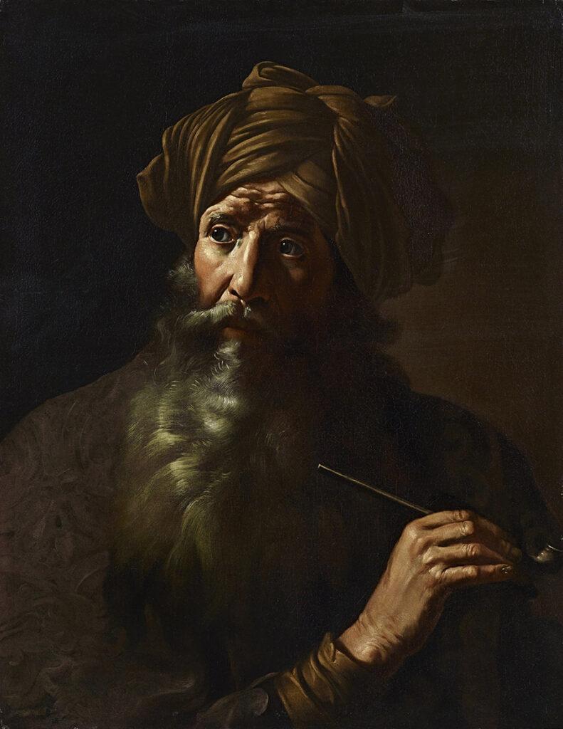 Mattia Preti, attribuito  Fumatore collezione privata olio su tela