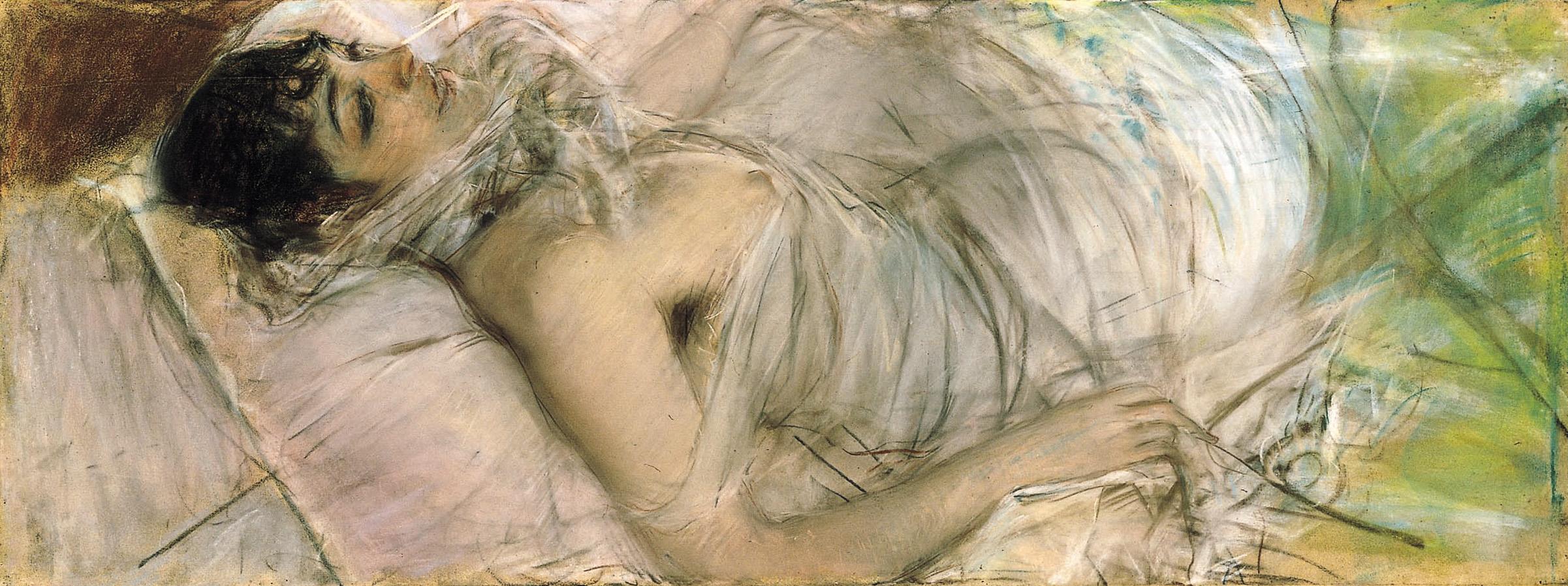 """Giovane bruna a letto (Mme de Rasty)"", 1882 circa"