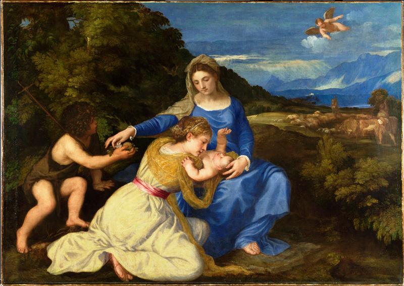 """Tiziano Vecellio """"Madonna col Bambino e i santi Caterina d'Alessandria e Giovannino (The Aldobrandini Madonna), 1532 – ca. Olio su tela, cm 131,4×174 Londra, The National Gallery"""