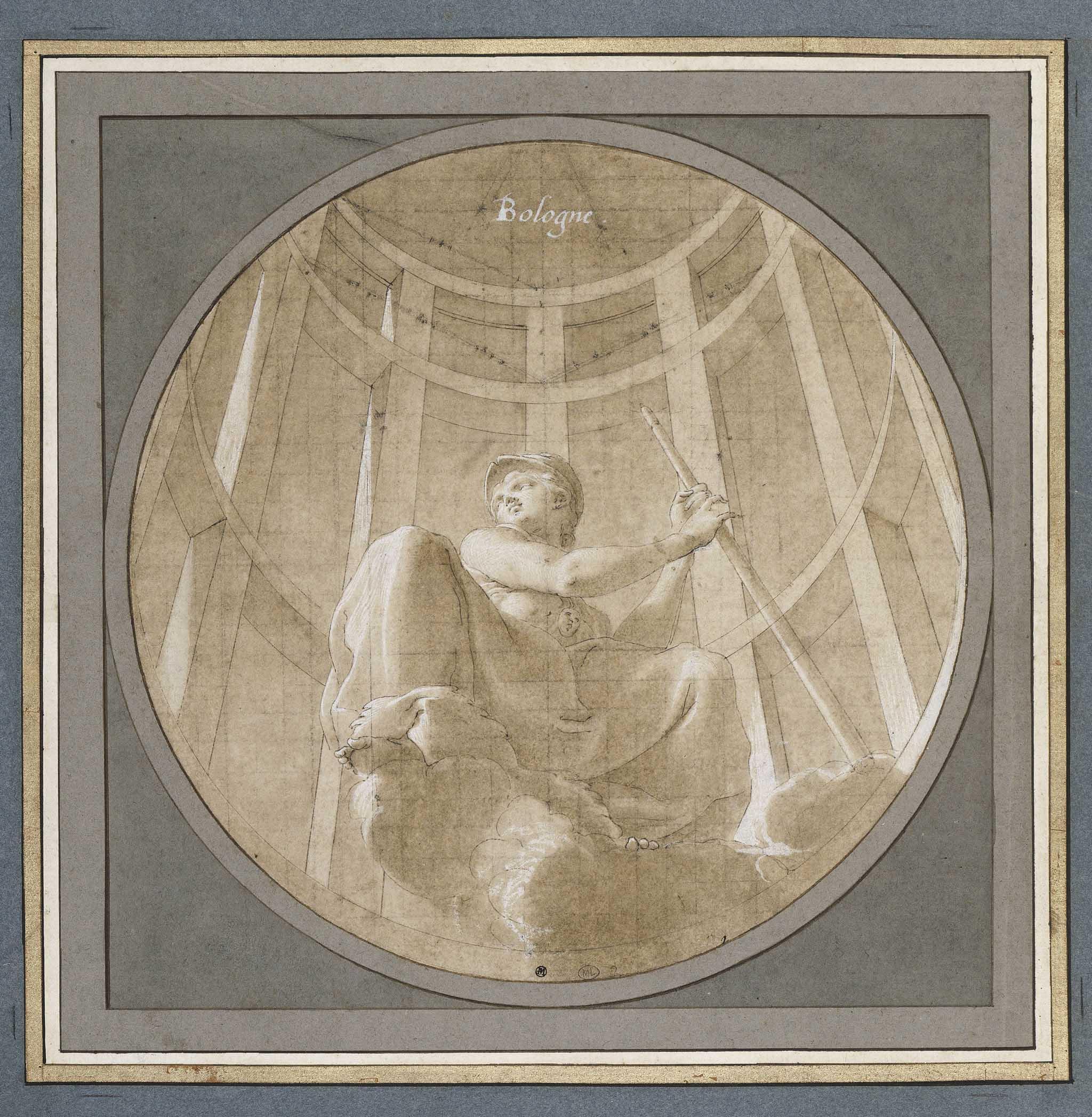 """Minerva seduta sulle nuvole, in un'edicola"""