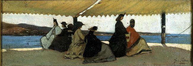 Giovanni Fattori, La rotonda di Palmieri a Livorno, 1866, Olio su tavola, cm. 12x35, Firenze, Galleria d'arte moderna di Palazzo Pitti