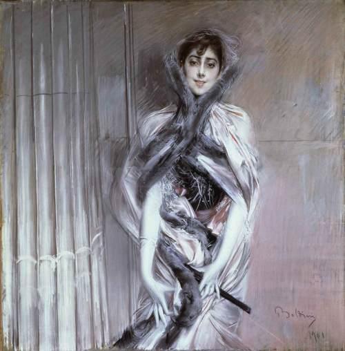 Un ritratto, opera di Boldini realizzata nel 1901. Il canone proporzionale è quello del Manierismo e di El Greco