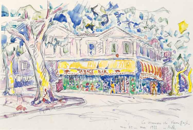 Arles, la Maison Jaune où résida van Gogh en 1888- 1889, aquarelle, 1933