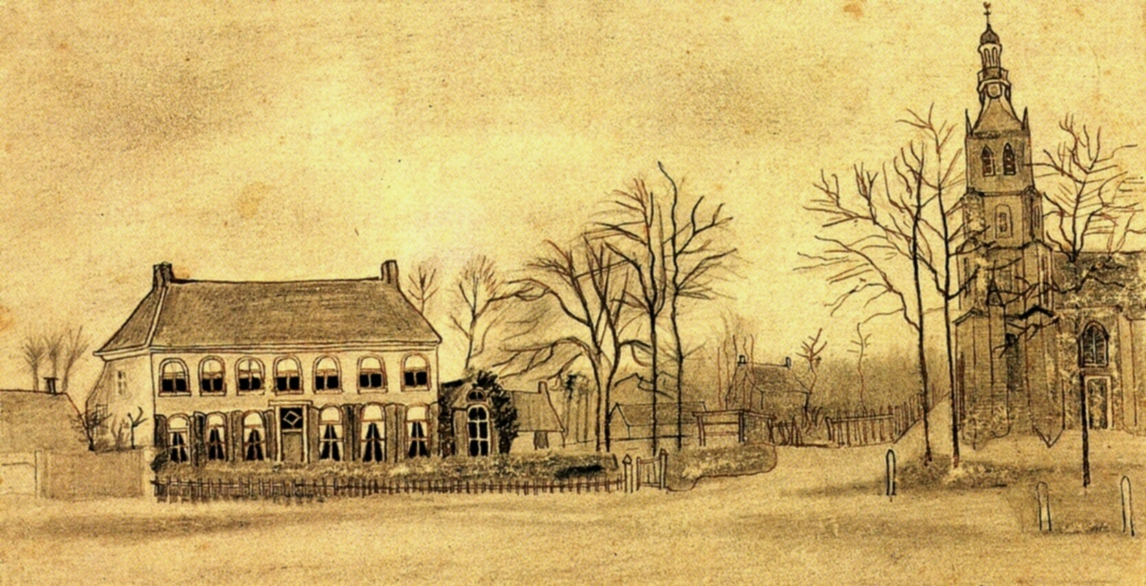 La villa del vicario e la chiesa protestante di Etten, disegnati da Vincent Van Gogh, nel 1876. In questa cornice si sviluppò il dramma dell'amore per la cugina Kee