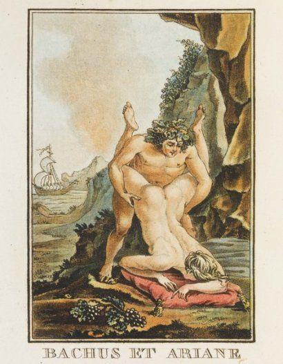 Bacco e Arianna, incisione del XIX secolo tratta da I Modi di Marcantonio Raimondi