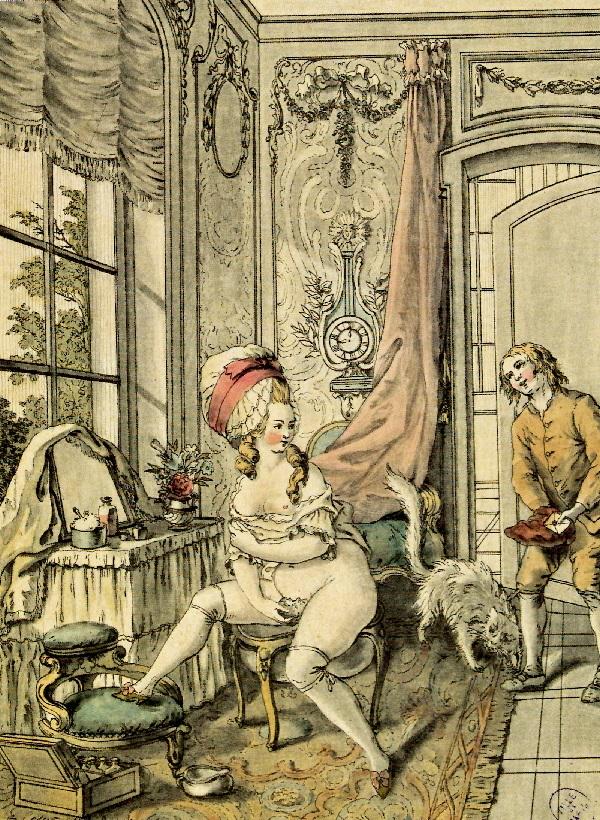 Anonimo La Toilette intime, incisione, 1765 circa