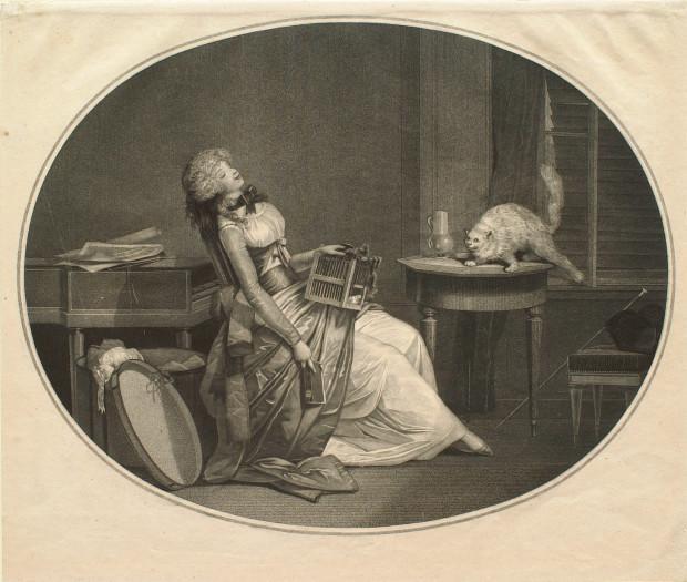 Insione di Debucourt del 1796, La donna piegata e resa languida dal dal desiderio ascolta l'aggressività sessuale della propria gatta