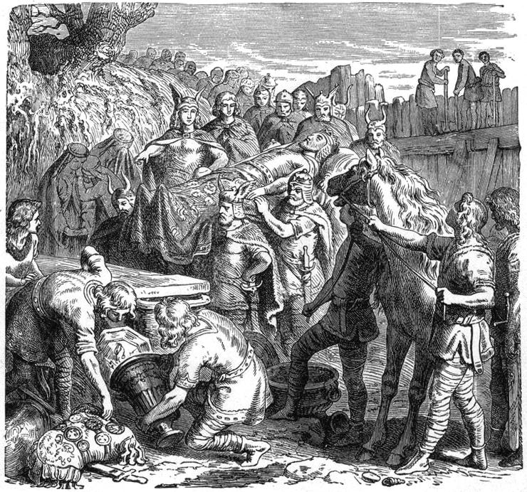 Un'incisione ottocentesca illustra la sepoltura di Alarico nel letto del Busento