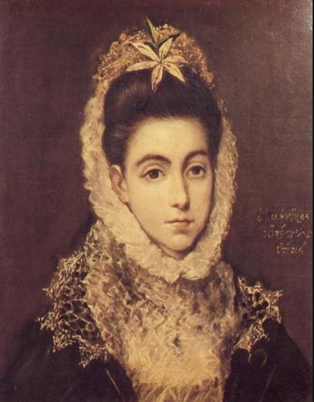 El Greco, Donna con fiore tra i capelli, 1595. Da notare gli eleganti volti allungati delle figure dell'artista