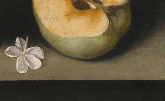 Un altro particolare del quadro. In basso a destra, la data, 1607