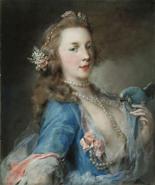 Una splendida tempera di Rosalba Carriera. Il pappagallino vuole scoprire il petto della donna effigiata