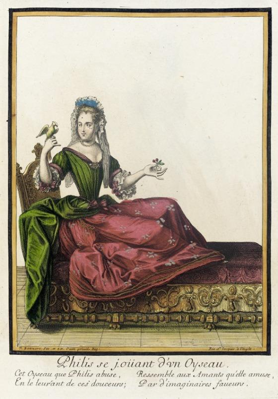Fillide con un uccello in mano in un'incisione settecentesca. Fillide era la donna che riuscì a far cadere moralmente Aristotele, con le proprie arti sensualli.