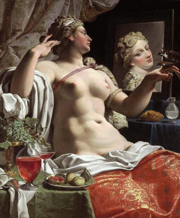 Abraham Janssens, 1618. La contemplazione sensuale del volatile,mentre sul tavolo si notano fichi aperti, simbolo del sesso femminile