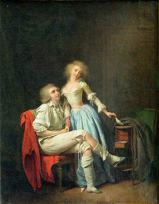 Ancora da un'opera di Boilly, fine secolo XVIII. Lei alunga lamano versi l'inguine di lui e al contempo accarezza il volatile, appoggiato al tavolo