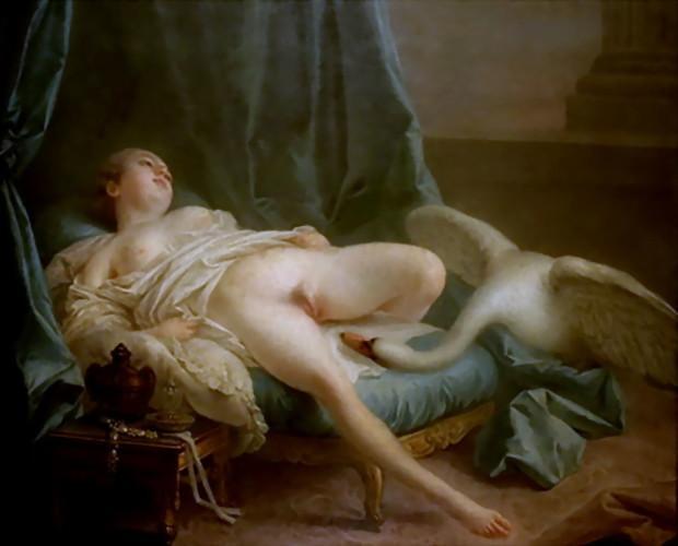 Il mito di Leda, posseduta da Zeus, trasformatosi in cigno, permette a Boucher di trasformare la scena mitologica in un pervers quadretto domestico, nel quale il desiderio irrefrenabile dell donna la induce al aprirsi a un cigno ilcui collo teso e solido rappresenta il pene umano