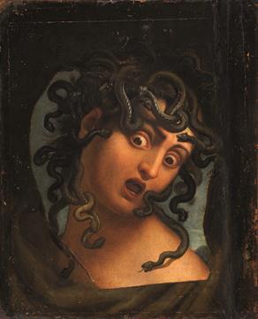 Ambito di di Angelo Caroselli (1585-1652), Testa di Medusa, olio su tavola