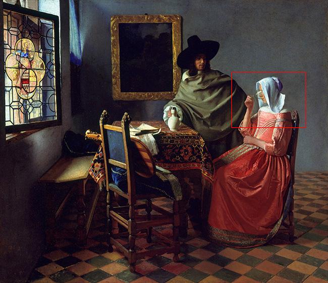 Jan Vermeer, Il bicchiere di vino, 1659-1660 circa Tecnicaolio su tela Dimensioni 66,3×76,5 cm Ubicazione Gemäldegalerie, Berlino