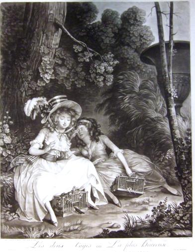 Incisione ottocentesca: La ragazza divarica le gambe e apre lo sportello della gabbietta, sotto la sottana, affinchè possa entrare un uccello