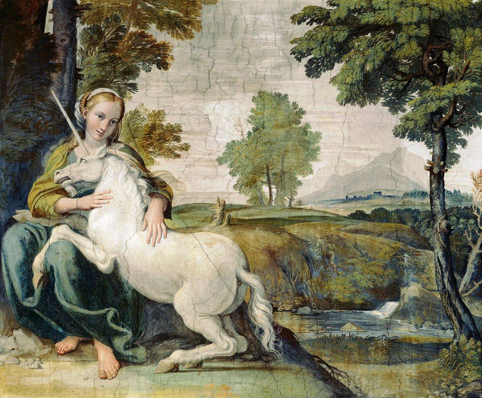 Domenico-Zampieri-detto-il-Domenichino, Vergine-con-unicorno, 1604, affresco,Roma-Palazzo-Farnese, Galleria-dei-Carracci