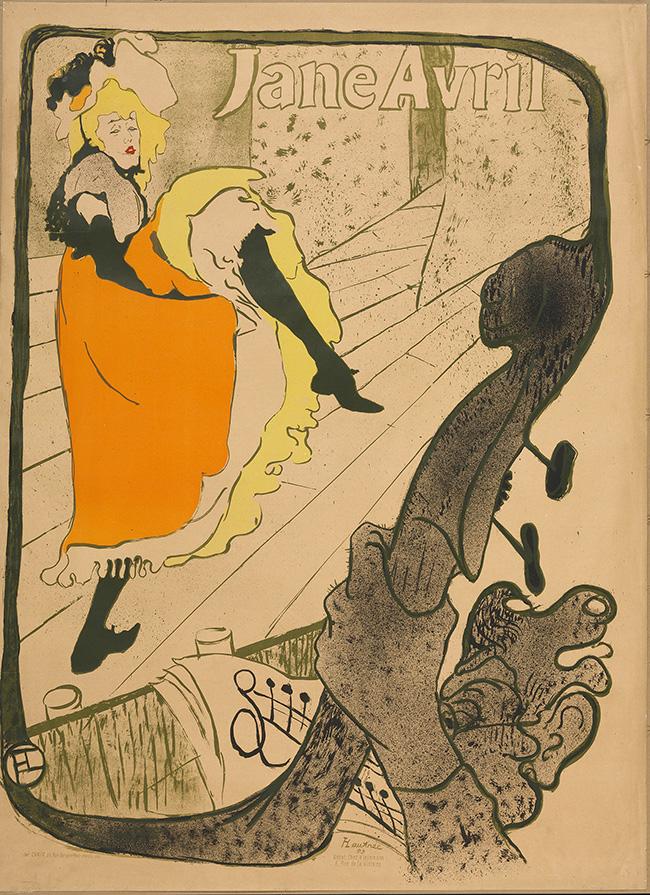Henri de Toulouse-Lautrec Jane Avril 1893 Lithograph (in five colours) on wove paper, 129,5x94 cm Budapest, Galleria Nazionale (Szepmuveszeti Muzeum) ©Museum of Fine Arts, Budapest 2015