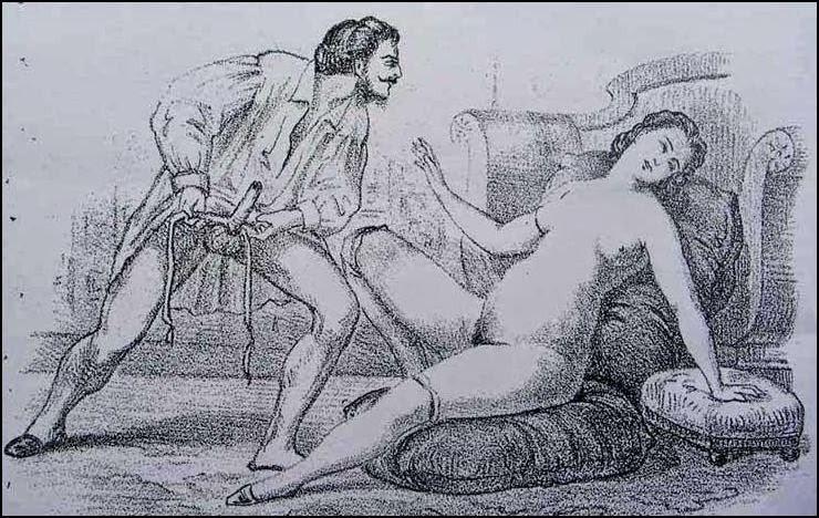 L'uomo indosa il preservativo in un'illustrazione, opera ottocentesca di Eusebi Planas