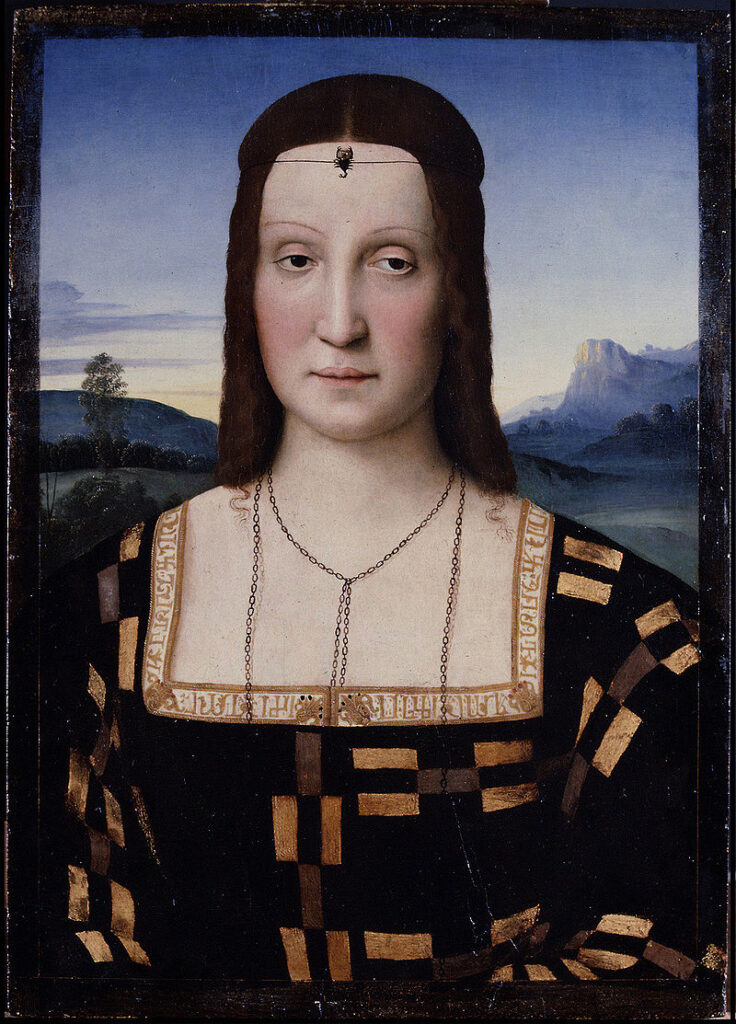Raffaello Sanzio, Ritratto di Elisabetta Gonzaga.I rettangoli d'oro s'alternano, in elementi maschili e in elementi femminili. Questa opera potrebbe costituire uno dei numerosi e lontani motivi ispiratori di Klimt per una parte del ritratto di Adèle