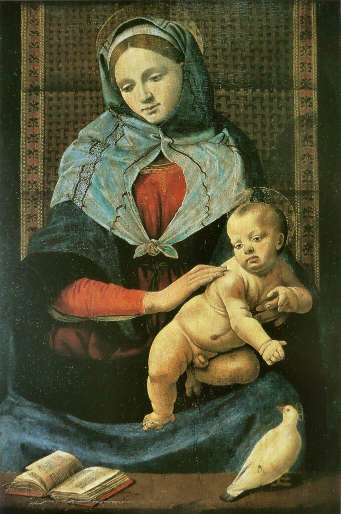 Gesù Bambino, la Madonna e la colomba, in un dipinto attribuito a Piero di Cosimo