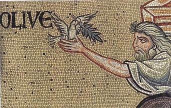 Noè, la colomba e il ramoscello di olivo in un mosaico del duomo di Monreale