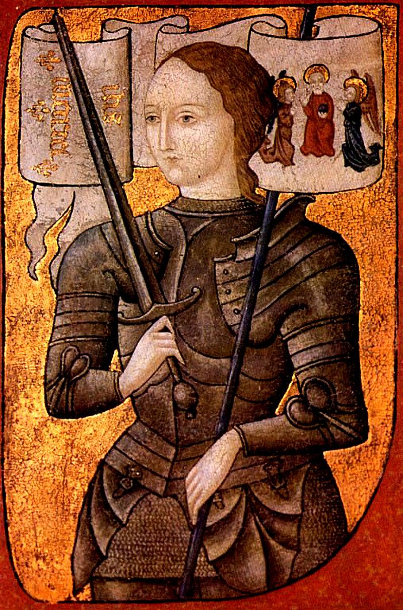 Giovanna, la Pulzella d'Orleans, in una miniatura del 1485 circa