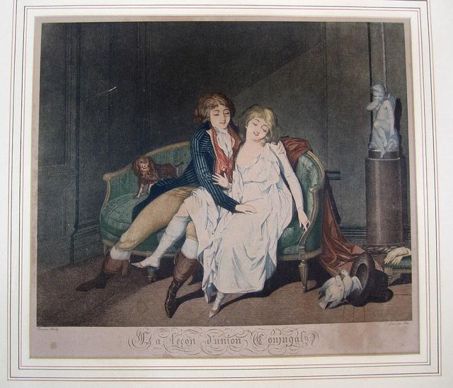 Una stampa francese degli inizi dell'Ottocento. Una coppia eccitata dall'attività sessuale di due colombe
