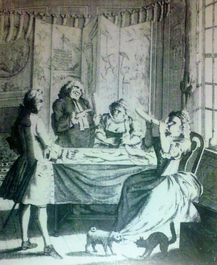 """Una tavola probabilmente tratta da un disegno settecentesco di Hogart, mostra il """"testaggio"""" dei preservativi di budello. In alto la filza dei condom gonfiati, che danno al cliente garanzia di sicurezza"""