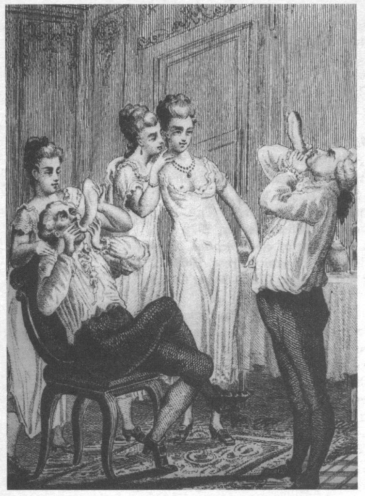 Il gonfiaggio dei preservativi in un'incisione ottocentesca. L'operazione, oltre a fungere da controllo del prodotto, era indispensabile per eliminare le aderenze della parte interna del condom e aveva, al tempo stesso, funzioni giocose