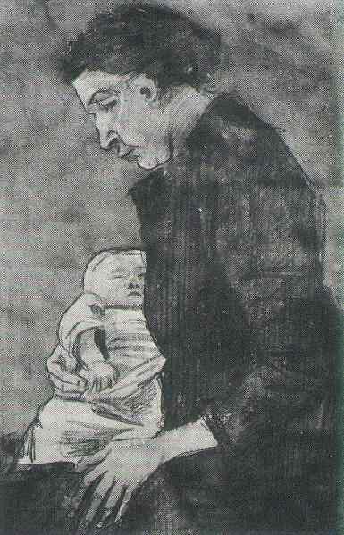Sien con il secondogenito, che fu trattato da Van Gogh come un proprio figlio