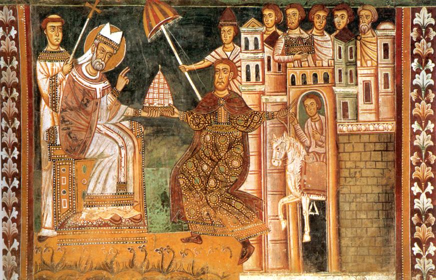 L'imperatore Costantino offre al papa Silvestro la tiara imperiale, simbolo del potere temporale. Affresco nell'oratorio di San Silvestro a Roma