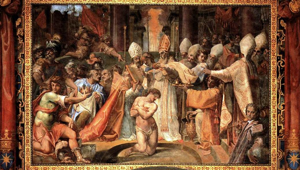 Il battesimo di Costantino da parte di San Silvestro. Gli storici hanno dimostrato che questa scena non è vera, ma avrebbe avuto un valore simbolico per sottolineare la sottomissione dell'imperatore alpapa