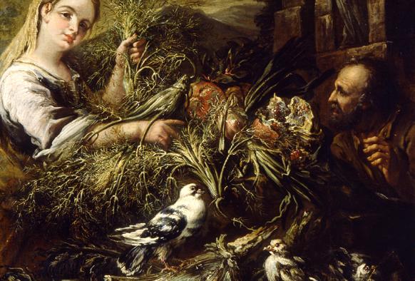 Felice Boselli (1651-1732), Scena di mercato con ortaggi, colombe e una fanciulla. L'intraprendenza sessuale del colombo, in primo piano, diviene sentimento traslato al contadino e alla ragazza