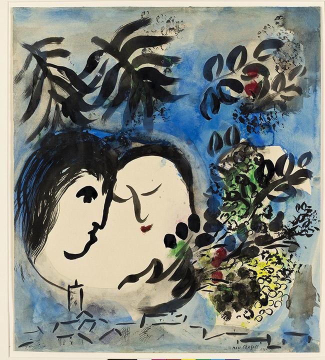 Marc Chagall Gli amanti, 1954/55 Gouache, inchiostro di china e acquerello su carta, 53x47 cm Dono di Jan Mitchell, New York, tramite l'America-Israel Cultural Foundation © Chagall ® by SIAE 2015