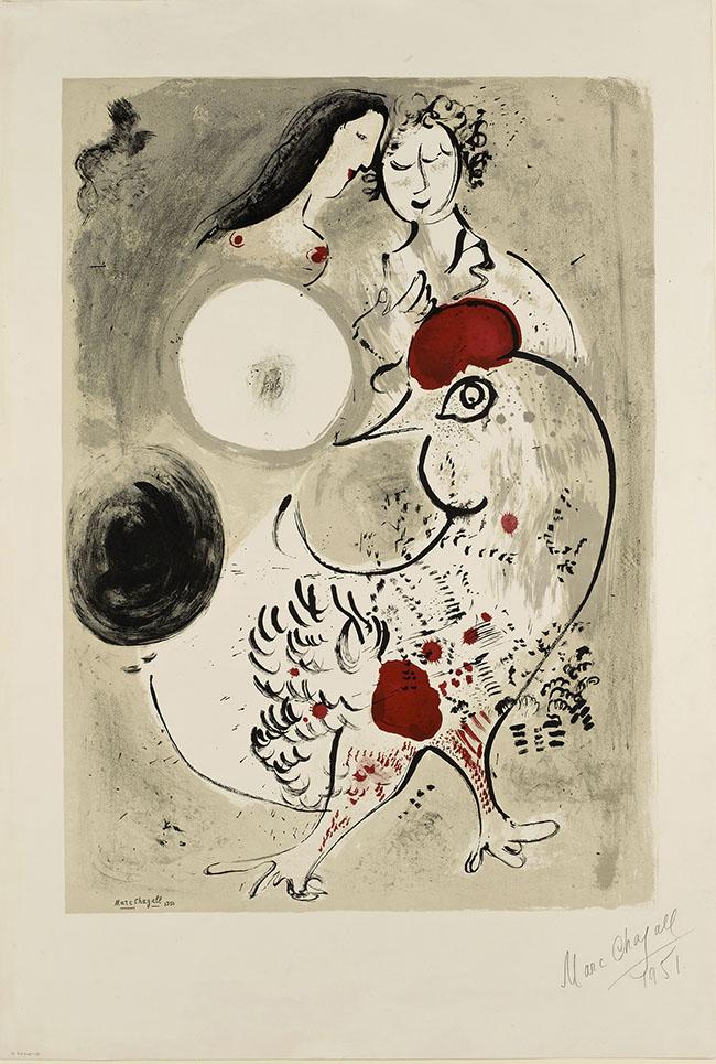 Marc Chagall Coppia di amanti con gallo, 1951 Litografia a colori, 95,4x64,7 cm Dono di Ida Chagall, Parigi © Chagall ® by SIAE 2015
