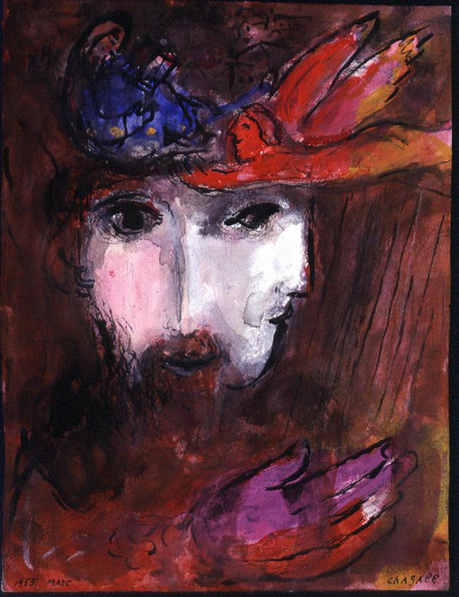 Marc Chagall Davide e Betsabea, 1955 Disegno per l'edizione Verve della Bibbia (nn. 33-34) Inchiostro di china, acquerello e gouache su carta, 35x26,1 cm Dono di Ida Chagall, Parigi © Chagall ® by SIAE 2015