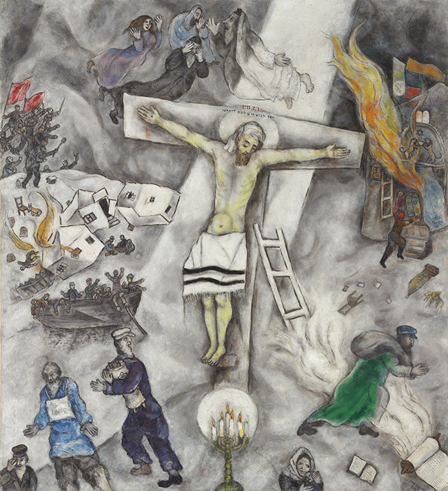 Crocifissione bianca Marc Chagall (Moishe Segal; Vitebsk 1887-Saint-Paul-de-Vence 1985), 1938, olio su tela, cm 155 x 139,8. Chicago, The Art Institute of Chicago, 1946.925, dono di Alfred S. Alschuler, inv. 1946.925 © Chagall ®, by SIAE 2015