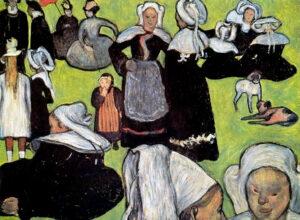 Emile Bernard, Donne bretoni-su-un prato, 1888