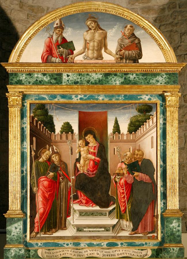 Bartolomeo Vivarini, Madonna in trono con Bambino e santi, 1476, Bari, Basilica di San Nicola