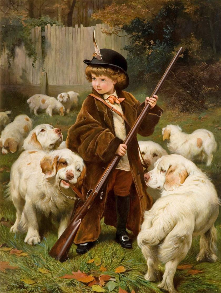 burton bambino con cani da caccia