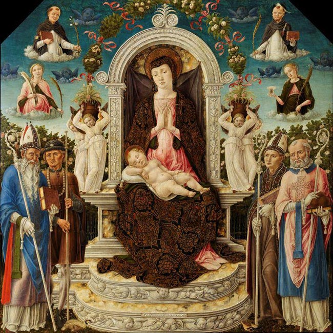 Bartolomeo Vivarini, Madonna col Bambino e Santi, 1465, Napoli, Museo di Capodimonte