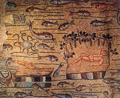 Mosaico del IV secolo, Storia di Giona, Aquileia. L'uomo è disteso sotto una pergola con frutti che potrebbero essere cetrioli