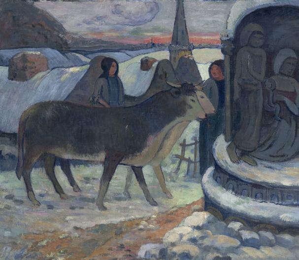 Paul Gauguin, Notte di Natale. L'artista riprende anche suggestioni egizie - si notino i due buoi appaiati - perallontanarsi da un piano di descrizione della realltà, cogliendo il lato mistico, insito nella natura. La svolta di Gauguin verso il simbolismo dispiacque a Pissarro, che intendeva l'arte moderna come abbandono del passato, come sercizio anti-autoritario, anti-metafisico e anti-religioso