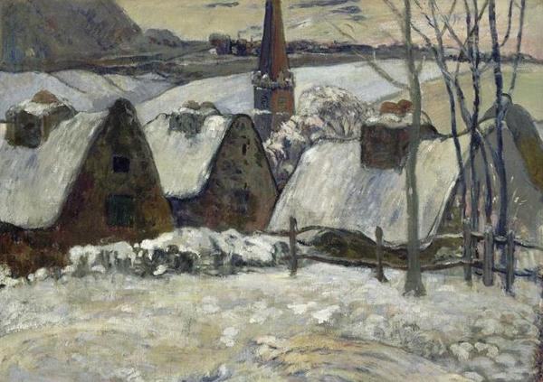 In Villaggio bretone sotto la neve, Paul Gauguin dimostra la svolta che egli compie rispetto ai propri precedenti impressionisti. Le linee di chiusura, simili a quelle del disegno aumentano; quanto un'idea, in questo caso, fiabesca o favolosa. E' l'aura immateriale che l'artista cerca nel soggetto, evitando di dipingere da vero, ma realizzando le proprie opere in studio, senza l'ossessione dell'esattezza fotografica