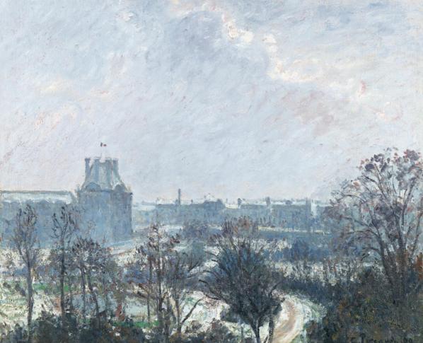 Camille Pissarro, Giardini delle Tuileries e padiglione di Flore, effetto neve, 1899, 54 per 65 centimetri