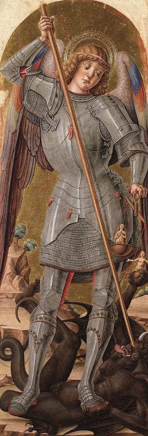 Bartolomeo Vivarini, San Michele arcangelo - Polittico di Scanzo, 1488, Bergamo, Accademia Carrara